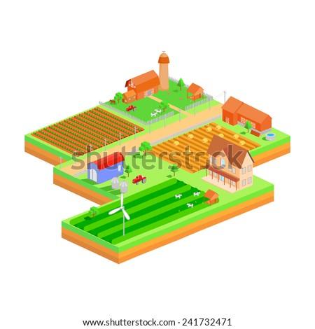 easy to edit vector illustration of isometric farmland - stock vector
