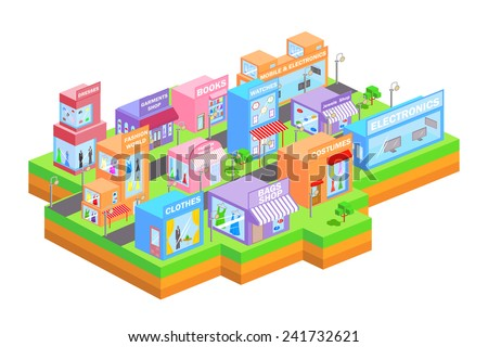 easy to edit vector illustration of isometric shopping market building - stock vector