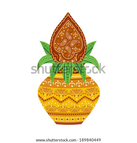 easy to edit vector illustration of kalash  in floral design - stock vector