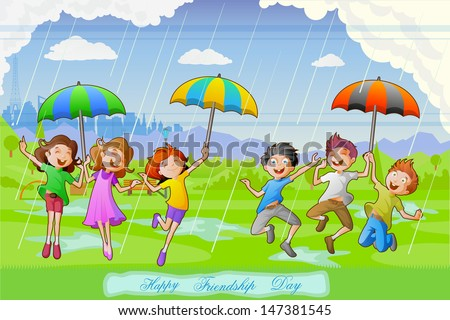 easy to edit vector illustration of kids celebrating Friendship Day in rains - stock vector