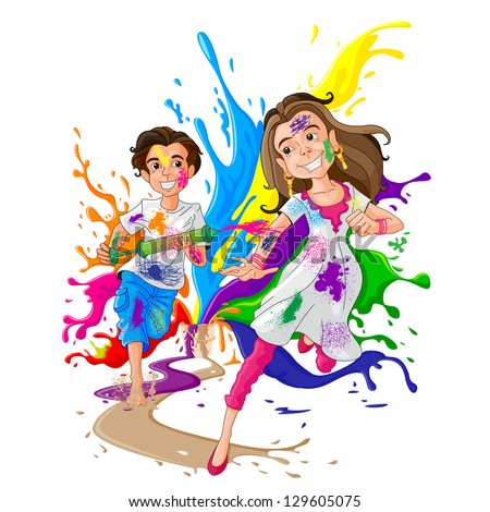 easy to edit vector illustration of kids enjoying Holi - stock vector