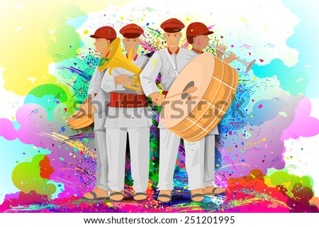 easy to edit vector illustration of kids enjoying Holi - stock vector