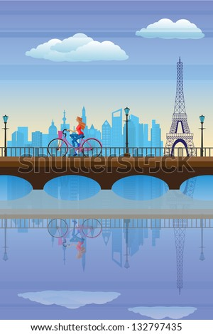 easy to edit vector illustration of lady cycling in city with Eiffel Tower backdrop - stock vector
