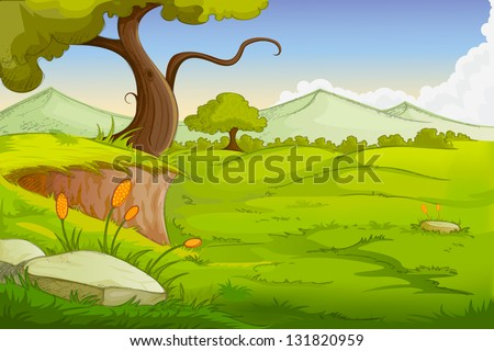 easy to edit vector illustration of landscape scene - stock vector