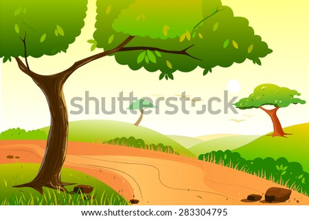 easy to edit vector illustration of Landscape with tree - stock vector