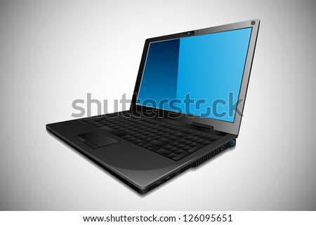 easy to edit vector illustration of laptop with blank screen