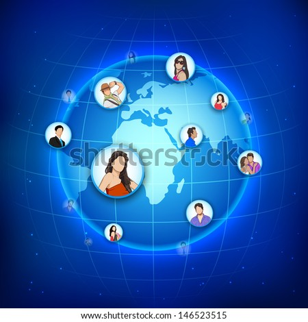 easy to edit vector illustration of man and woman connected to human networking around Earth - stock vector
