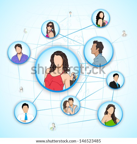 easy to edit vector illustration of man and woman connected to human networking web - stock vector