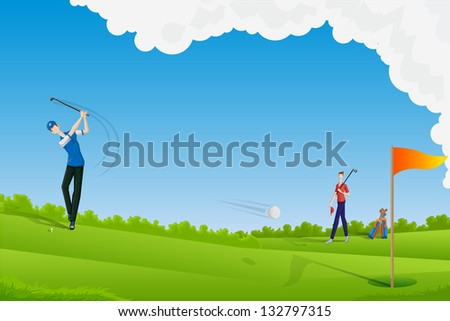 easy to edit vector illustration of man playing golf - stock vector
