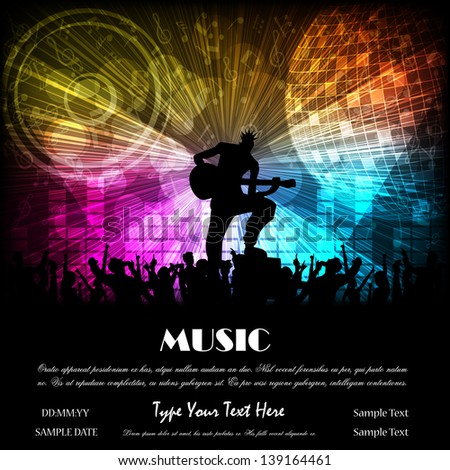 easy to edit vector illustration of man playing guitar in crowd - stock vector