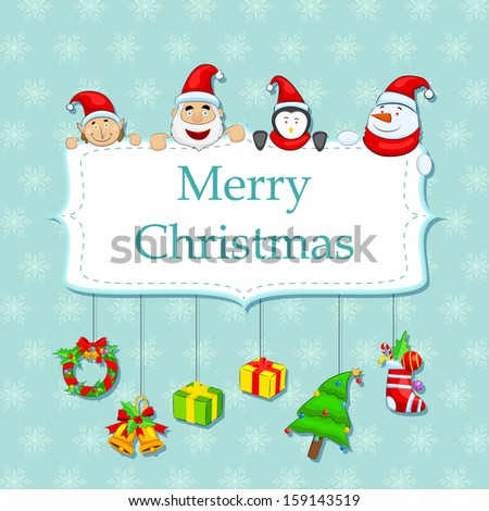 easy to edit vector illustration of Merry Christmas card