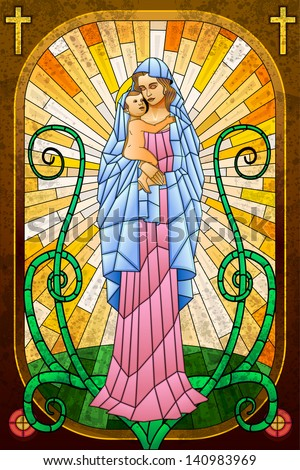 easy to edit vector illustration of Mother Mary with Jesus Christ in stained glass painting - stock vector