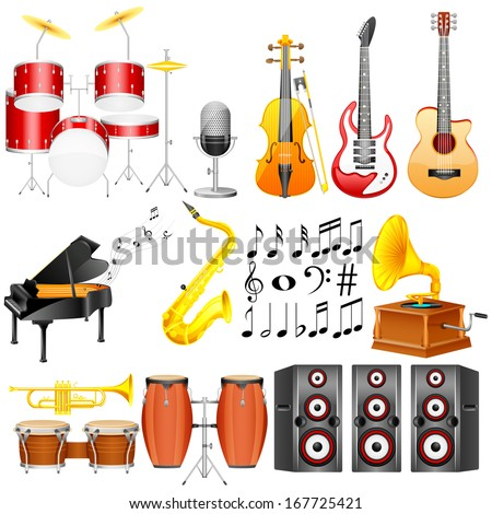 easy to edit vector illustration of Music Instrument collection - stock vector