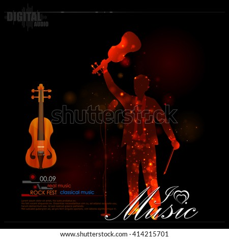 easy to edit vector illustration of music notes coming out of violin - stock vector
