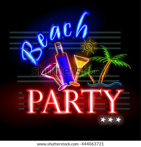 easy to edit vector illustration of Neon Light signboard for Beach Party - stock vector