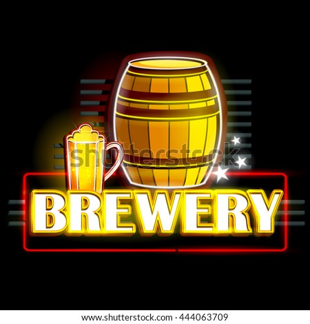 easy to edit vector illustration of Neon Light signboard for Brewery - stock vector