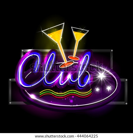 easy to edit vector illustration of Neon Light signboard for Club - stock vector