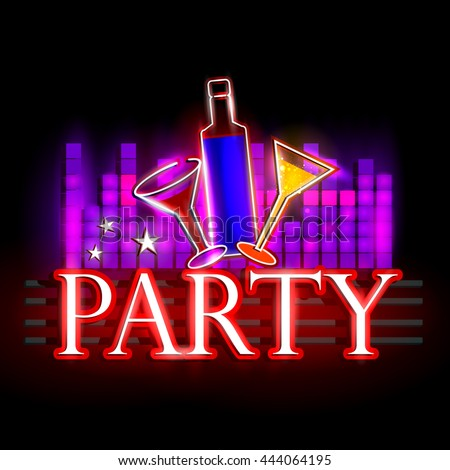easy to edit vector illustration of Neon Light signboard for Party - stock vector