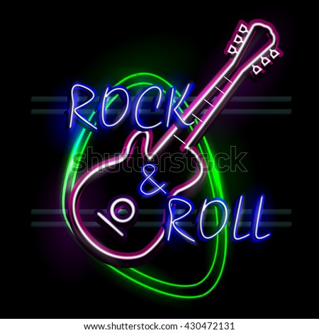 easy to edit vector illustration of Neon Light signboard for Rock and Roll - stock vector