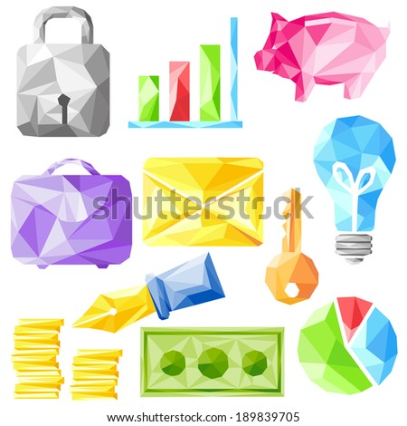 easy to edit vector illustration of origami office object - stock vector