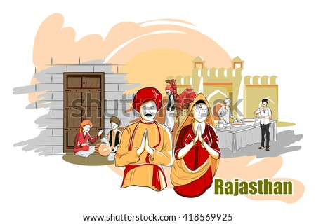 easy to edit vector illustration of people and culture of Rajasthan, India - stock vector