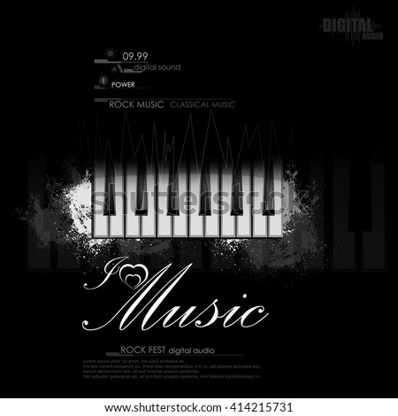 easy to edit vector illustration of piano key on abstract music background - stock vector