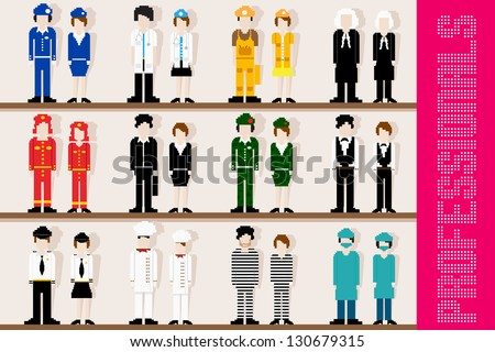 easy to edit vector illustration of pixel professional - stock vector