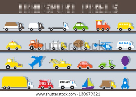 easy to edit vector illustration of pixel vehicle - stock vector