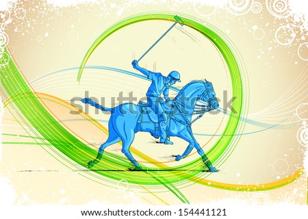 easy to edit vector illustration of polo horse player - stock vector