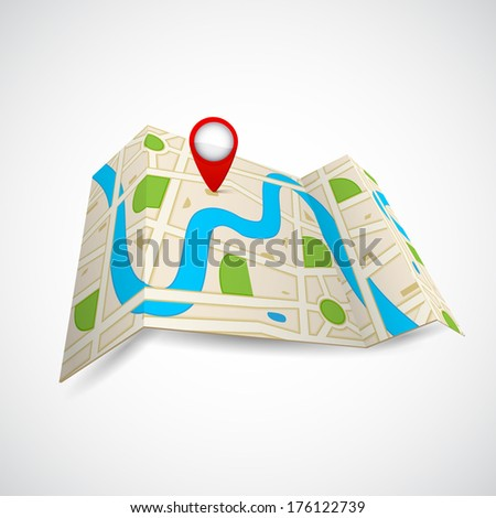 easy to edit vector illustration of road map for GPS application - stock vector