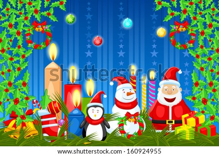 easy to edit vector illustration of Santa Claus wishing Merry Christmas - stock vector