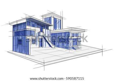 Easy edit vector illustration sketch exterior vectores en stock easy to edit vector illustration of sketch of exterior building draft blueprint design malvernweather Choice Image