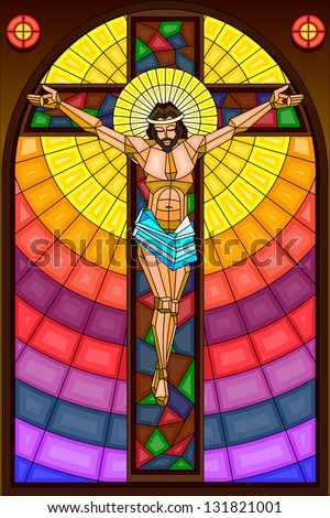 easy to edit vector illustration of stained glass painting of Jesus Christ Crucifixion - stock vector