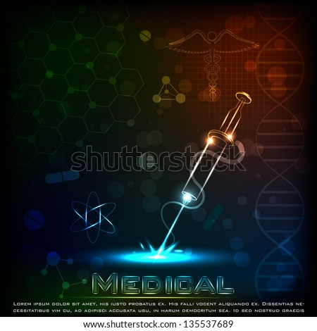 easy to edit vector illustration of syringe on medical background - stock vector