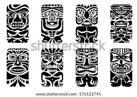 easy to edit vector illustration of tiki mask - stock vector