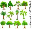 easy to edit vector illustration of Tree Collection - stock vector