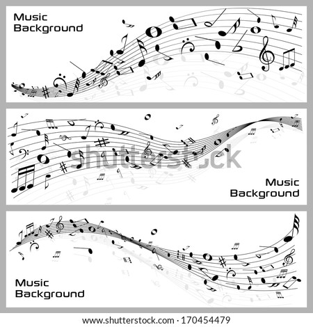 easy to edit vector illustration of wavy music notes banner - stock vector