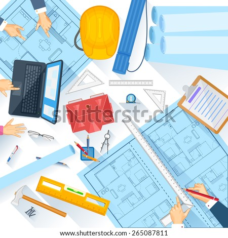 easy to edit vector illustration of  working table of architect - stock vector