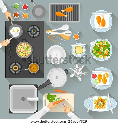 easy to edit vector illustration of working table of chef - stock vector
