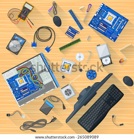 easy to edit vector illustration of working table of computer mechanic - stock vector