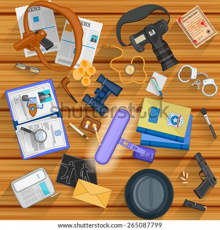 easy to edit vector illustration of working table of detective - stock vector