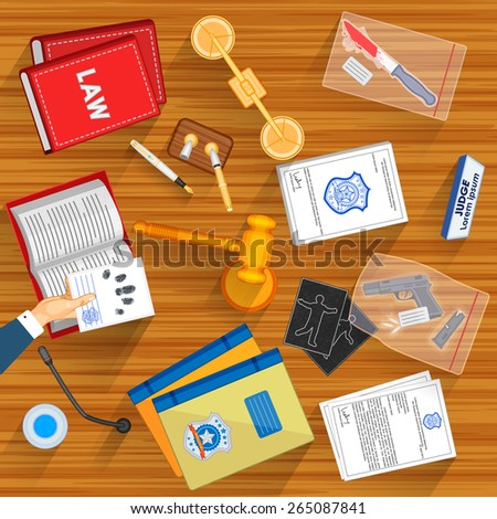 easy to edit vector illustration of working table of Judge - stock vector