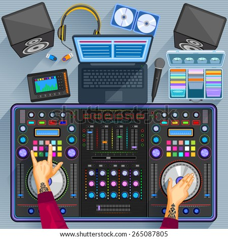 easy to edit vector illustration of working table of music disco jockey - stock vector