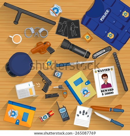 easy to edit vector illustration of working table of police - stock vector