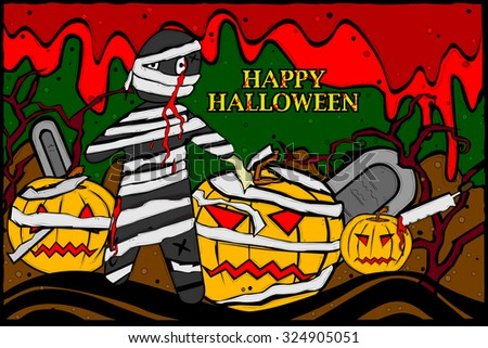 easy to edit vector illustration of zombie in graceyard celebrating Halloween - stock vector