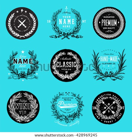 Easy to edit! Vector Wreath Logo Template Set. Great for logos, gift certificate, badges, ornaments, diplomas, logo projects, certificates, and awards.   - stock vector
