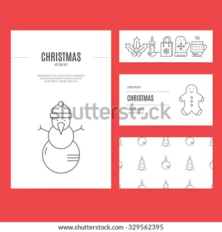 Easy to use and edit business stationery set including business card, corporate letterhead and flyer template with different winter and Christmas elements. - stock vector