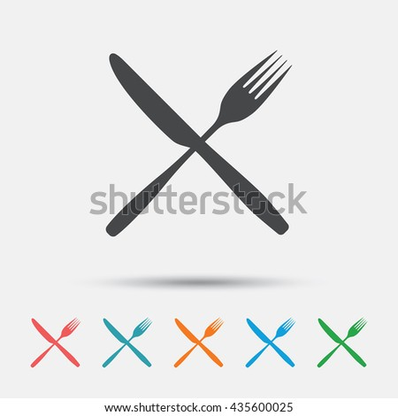 Eat sign icon. Cutlery symbol. Fork and knife crosswise. Graphic element on white background. Colour clean flat fork icons. Vector - stock vector