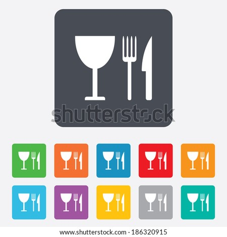 Eat sign icon. Cutlery symbol. Knife, fork and wineglass. Rounded squares 11 buttons. Vector