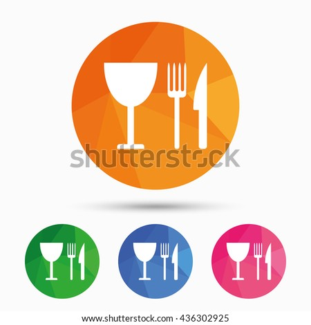 Eat sign icon. Cutlery symbol. Knife, fork and wineglass. Triangular low poly button with flat icon. Vector